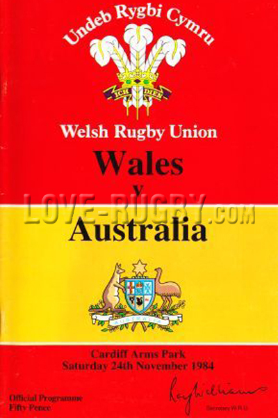 1984 Wales v Australia  Rugby Programme