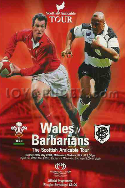 2001 Wales v Barbarians  Rugby Programme