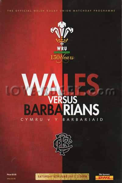 2011 Wales v Barbarians  Rugby Programme