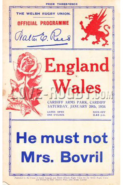 1934 Wales v England  Rugby Programme