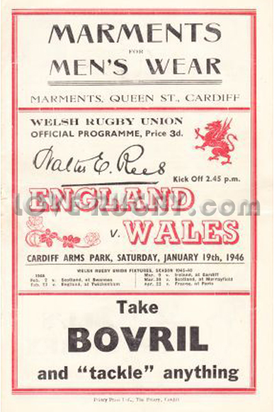 1946 Wales v England  Rugby Programme