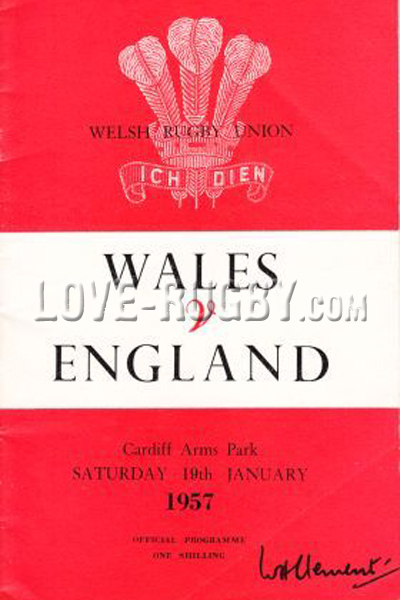 1957 Wales v England  Rugby Programme