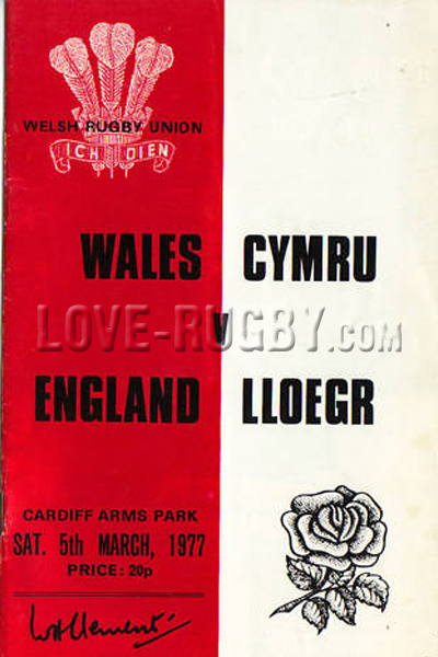 1977 Wales v England  Rugby Programme