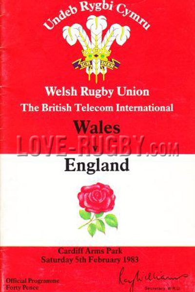 1983 Wales v England  Rugby Programme
