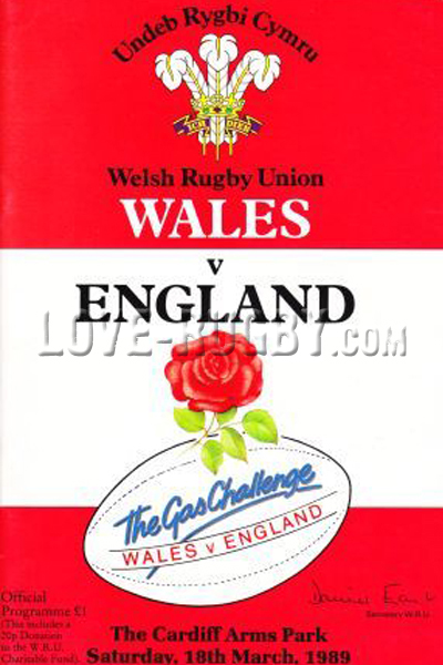 1989 Wales v England  Rugby Programme
