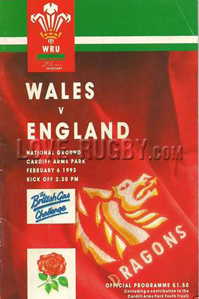 1993 Wales v England  Rugby Programme