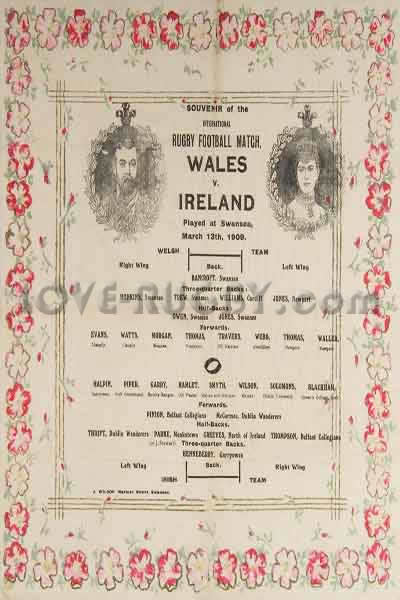 1909 Wales v Ireland  Rugby Programme