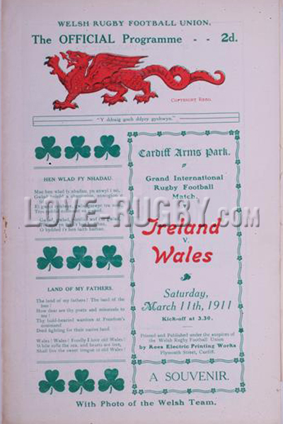 1911 Wales v Ireland  Rugby Programme