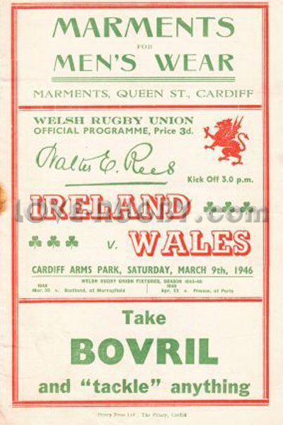 1946 Wales v Ireland  Rugby Programme