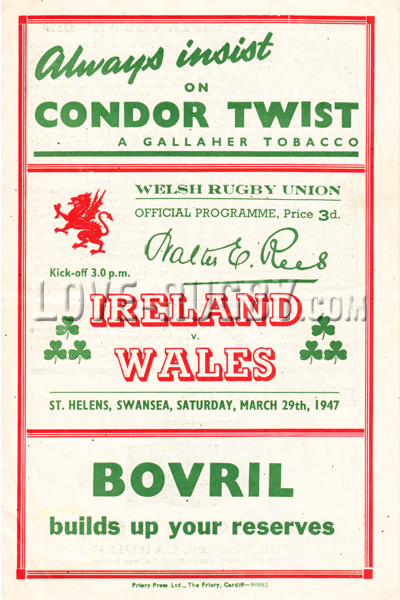 1947 Wales v Ireland  Rugby Programme