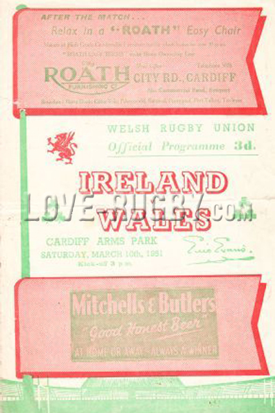 1951 Wales v Ireland  Rugby Programme