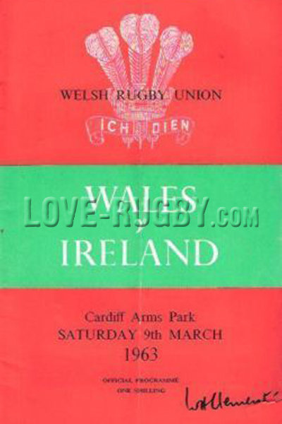 1963 Wales v Ireland  Rugby Programme