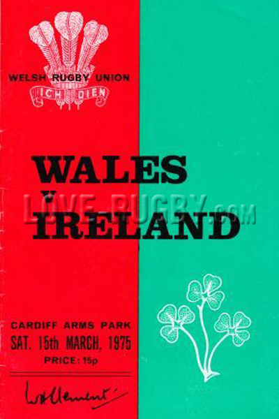 1975 Wales v Ireland  Rugby Programme