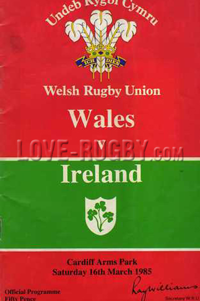 1985 Wales v Ireland  Rugby Programme