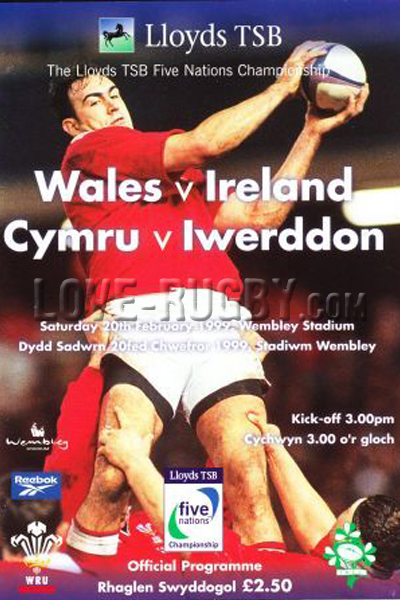 1999 Wales v Ireland  Rugby Programme