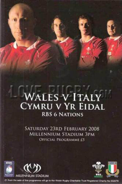 2008 Wales v Italy  Rugby Programme