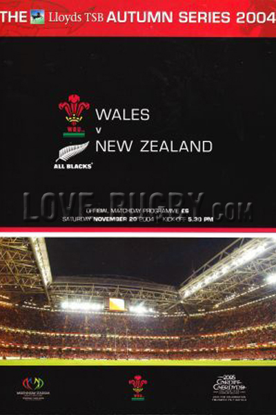 2004 Wales v New Zealand  Rugby Programme