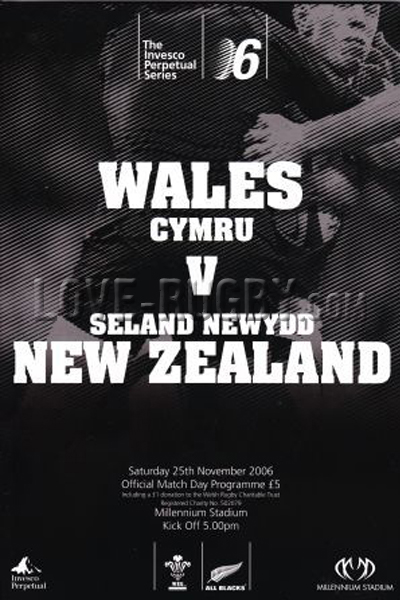 2006 Wales v New Zealand  Rugby Programme