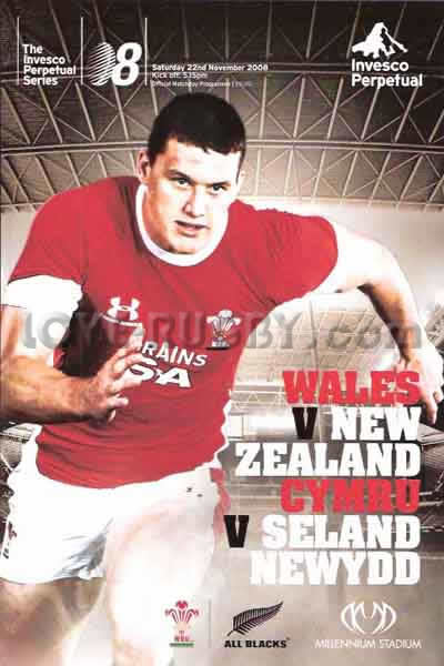 2008 Wales v New Zealand  Rugby Programme