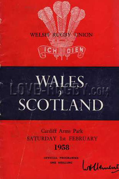 1958 Wales v Scotland  Rugby Programme