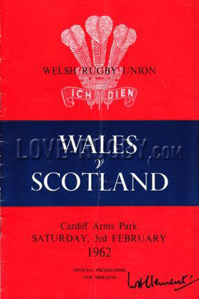 1962 Wales v Scotland  Rugby Programme