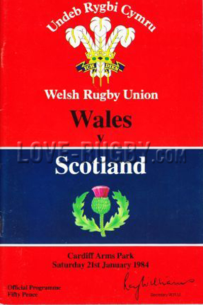 1984 Wales v Scotland  Rugby Programme