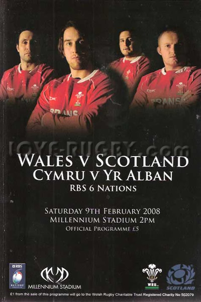 2008 Wales v Scotland  Rugby Programme