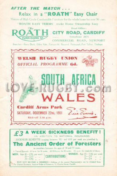 1951 Wales v South Africa  Rugby Programme