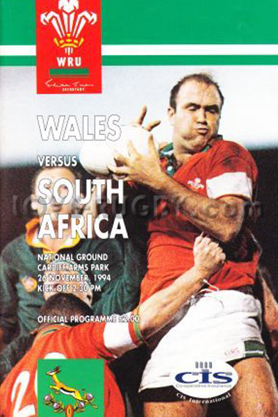 1994 Wales v South Africa  Rugby Programme