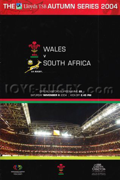 2004 Wales v South Africa  Rugby Programme