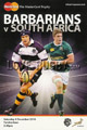 Barbarians v South Africa 2010 rugby  Programmes