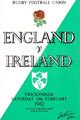 England v Ireland 1962 rugby  Programme