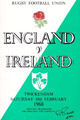 England v Ireland 1968 rugby  Programme