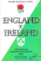 England v Ireland 1978 rugby  Programme