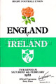 England v Ireland 1982 rugby  Programme
