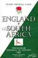 England v South Africa 1961 rugby  Programme