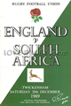England v South Africa 1969 rugby  Programmes