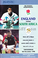 England v South Africa 1998 rugby  Programme