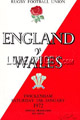 England v Wales 1972 rugby  Programmes