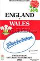 England v Wales 1988 rugby  Programmes
