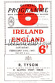 Ireland v England 1951 rugby  Programme