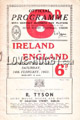 Ireland v England 1953 rugby  Programme