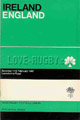 Ireland v England 1967 rugby  Programme