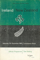 Ireland v New Zealand 1963 rugby  Programme