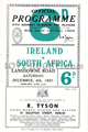 Ireland v South Africa 1951 rugby  Programmes