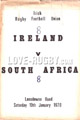 Ireland v South Africa 1970 rugby  Programmes