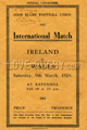 Ireland v Wales 1929 rugby  Programmes
