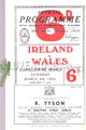 Ireland v Wales 1952 rugby  Programme