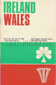 Ireland v Wales 1968 rugby  Programme