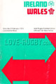 Ireland v Wales 1974 rugby  Programmes